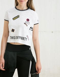 Ribbed contrast top with patches