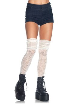 dc01f0eb3e3 Acrylic pointelle over the knee scrunch sock thigh highs. One Size  Pantyhose Brands