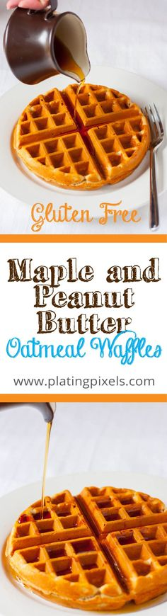 Gluten-Free Maple and Peanut Butter Oatmeal Waffles. Peanut butter and maple syrup make these healthy waffles without sugar. Oat flour gluten-free waffles.