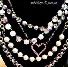 Happy London & Fun Chokers with Sporty Glam 2 Row Necklace and Pink October Heart Necklace