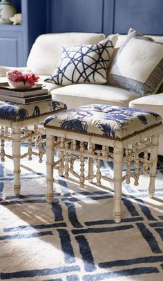 Versatile chinoiserie for a living room, bedroom or study, the Sea Island Faux Bamboo Ottoman adds a tropical touch to your decor.