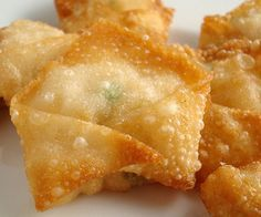 Fried shrimp wontons.This delicious appetizer belongs to Chinese cuisine.For a special treat,serve these wontons with a soy sauce.