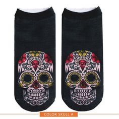 2017 New arrival Women Low Cut Ankle Socks Funny Skull 3D Printing Sock Cotton Hosiery Printed Sock