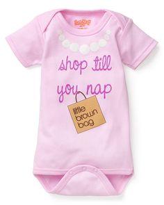 "Baby Shower Gift Idea: Sara Kety ""Shop till you Nap"" Bloomies Romper 0-18 months"