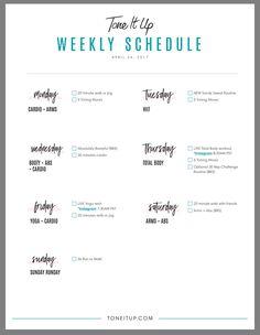 Tone It Up Bikini Series 2017--Week One Workout Schedule #tiu