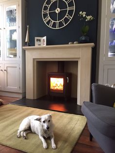 Garden room with log burner This fireplace and Contura stove were fitted in a wonderful new kitchen. This was in the cosy area at the end of the room and it sits well in the grade 2 listed property. If the dogs happy, everyones happy ! Teal Living Rooms, New Living Room, Living Room Designs, Living Room Decor, Fireplace Surrounds, Fireplace Design, Wood Burner Fireplace, Fireplace Garden, Log Burner Living Room