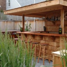 Cool idea for an Outdoor Wooden Bar with an overhang