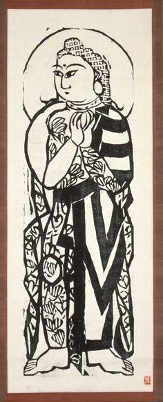 Monjū Bosatsu Series: Twelve Great Disciples of the Buddha Munakata Shikō (Japan, 1903-1975) Japan, 20th century Prints; woodcuts Woodcut mounted as a scroll