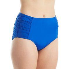 Jantzen 7006 Solid High Waist Brief Swim Bottom ($58) ❤ liked on Polyvore featuring swimwear, bikinis, bikini bottoms, ruched high waisted bikini, seamless bikini bottoms, high waisted two piece, jantzen swimwear and high waisted bikini bottoms