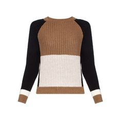 Weekend Max Mara Colour-block ribbed virgin-wool sweater ($230) ❤ liked on Polyvore featuring tops, sweaters, cream multi, line knitwear, weekend max mara, rib sweater, cream sweater and color block top