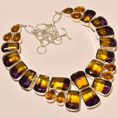 CHARMING AMETRINE  WITH FACETED CITRINE TOPAZ FABULOUS.925 SILVER NECKLACE #Handmade #Choker