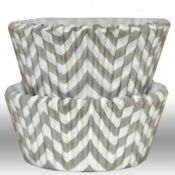 Chevron Gray Cupcake Liners - $3.75 for 50 count COURTNEY...Look what I saw while looking for cupcake liners for wedding day.  They also had paper straws!