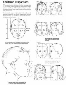 baby drawing Proportions of Children, Infant, and Baby Heads Reference Sheet How To Draw Steps, How To Draw Hair, Learn To Draw, Baby Face Drawing, Drawing For Kids, Children Drawing, Drawing Faces, Drawing Lessons, Drawing Techniques