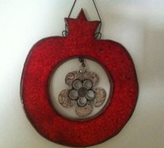 Wall Decor Pomegranate ceramic Decoration w Metal flower handmade Judaica Gift