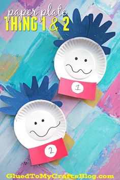 The simplest Paper Plate Thing 1 & 2 Dr Seuss themed kid craft idea! #gluedtomycrafts #kidcrafts