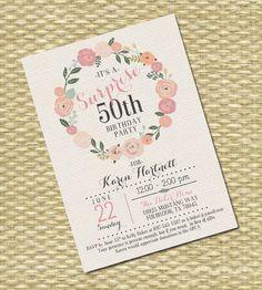 Adult Birthday Invitation - Milestone Birthday - Any Event - Floral Circle Burlap Typography Printable Baby Shower Invitations, Fun Wedding Invitations, Rustic Invitations, Floral Invitation, Baby Shower Printables, Birthday Party Invitations, Invitation Cards, Wedding Cards, Invitation Design