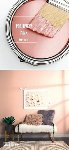 Get in touch with your feminine side with a little help from the light blush hue of Positively Pink by BEHR Paint. This chic shade is a glamorous way to add a subtle pop of color to the interior design of your home. Try using elegant home decor pieces, li Pink Paint Colors, Interior Paint Colors, Wall Colors, House Colors, Interior Design, Bher Paint Colors, Light Pink Paint, Interior Rugs, Gray Paint