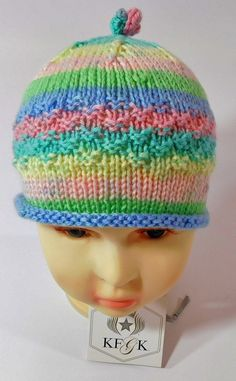 Handmade Knitted Girls Hat in Textured Jewel Tones KFGK