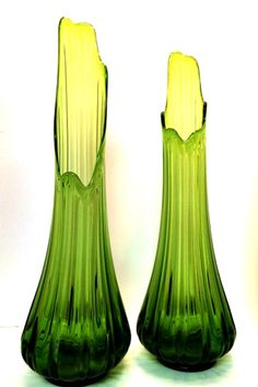 """Stunning Pair of #Vintage Mid Century Green Glass Swung Vases 23"""" Tall"""