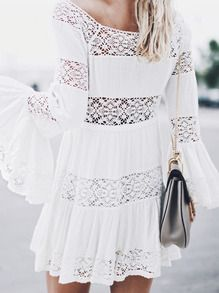 White Long Sleeve Crochet Lace Dress -SheIn(Sheinside)