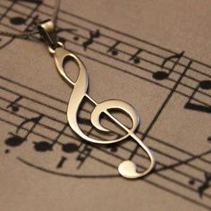 G clef Treble clef Necklace silver music note by Silversmith925 34.00