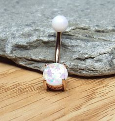 White Fire Opal Belly Button Ring Navel Ring 14 gauge Rose