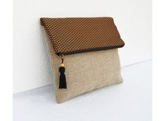 Boho linen pouch, brocade bag, black and gold, chevron pattern, moroccan, foldover clutch, 10X8 inches