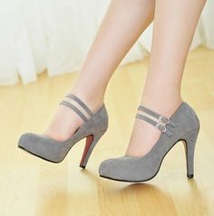 Women new fashion spring summer double buckle bridal wedding 9.5cm high-heeled pumps shoes large plus size 40-43