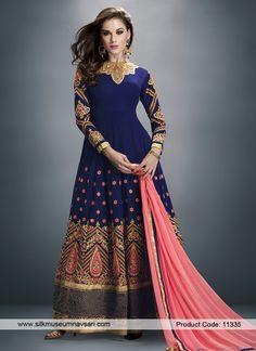Dark Blue Faux Chiffon Anarkali Suit