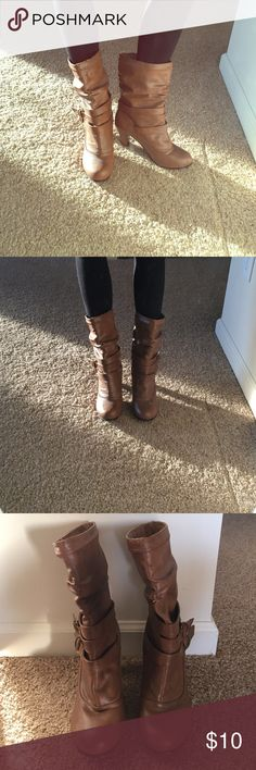 "Rue21 boots Brown leather boots, 3"" heel, only worn a few times, excellent condition. Rue21 Shoes Heeled Boots"