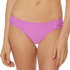 Women's Pink Envelope Shirred Hipster Bikini Bottoms, Size: Small, Med Pink