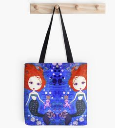 Her Royal Highness - Mermaid Tote Bag . This design is also available on other items. Cotton Tote Bags, Reusable Tote Bags, Mermaid Gifts, Canvas Art, Canvas Prints, Mixed Media Canvas, Original Paintings, Finding Yourself, Lovers