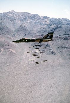 USAF General Dynamics F-111 Aardvark dropping ordnance. If you survive, do your best to staunch the bleeding from your ears, and go home. You're done for the day.