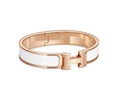 "Hermes narrow bracelet in enamel Rose gold plated hardware, 2.25"" diameter, 7.5"" circumference, 0.5"" wide."