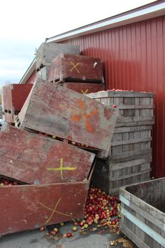 Broken apple crates at cider farm