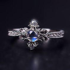 Delicate Princess Style Art Deco Moonstone Promise Ring [100713] - $72.00 : jewelsin.com