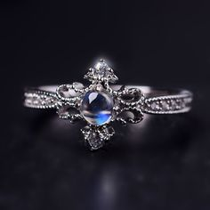 Delicate Princess Style Art Deco Moonstone Promise Ring
