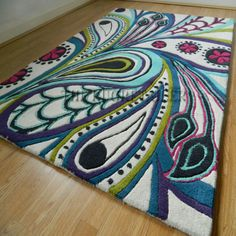Peacock rug | Remix Peacock Rugs In Multi Colour Wool - The Rug Retailer