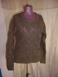 Ruffhewn Green Pullover Sweater size Small Openwork with Pockets Wool Blend #Ruffhewn #Tunic Seller florasgarden on ebay