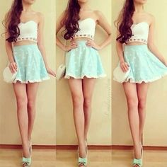 Cute teen summer outfit. Printed blue skirt with a pretty white crop top and blue/green heels!