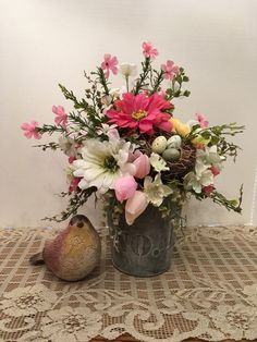 Spring Floral Arrangement with Bird Nest, No 1 Tin Floral Arrangement, Wedding Centerpiece, Pink, White and Yellow Floral Arrangement, by SheilasHomeCreations on Etsy