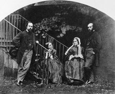 Fine art painter Dante Gabriel Rossetti with his sister, the poet Christina Rossetti, his wife Elizabeth Rossetti and his brother, art critic William Michael Rossetti by Charles Lutwidge Dodgeson, 1863
