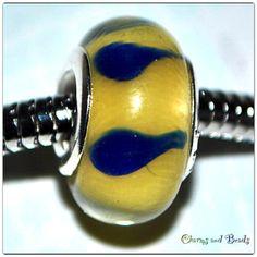 Lampwork Bead Charm yellow and blue large di CHARMSandBEADSsol, $6.00