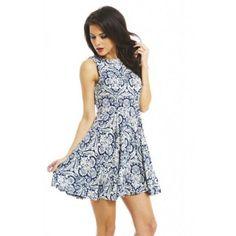 AX Paris Sleeveless Skater Dress ($39) ❤ liked on Polyvore featuring dresses, blue, blue print dress, sleeveless print dress, sleeveless dress, print dress and vintage looking dresses