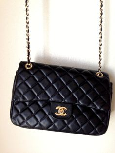 Black Quilted Chanel Leather Handbag by TheFastBastille on Etsy, $370.00