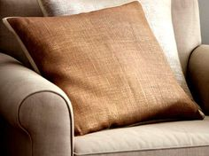 Two Pottery Barn Metallic Flax Pillow Covers Golden Copper Brown 20 x 20 Pair #PotteryBarn #Transitional