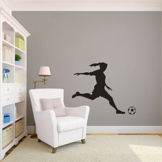 Girl Soccer Player Kicking Silhouette Sports - Wall Decal Custom Vinyl Art Stickers on Etsy, $28.00