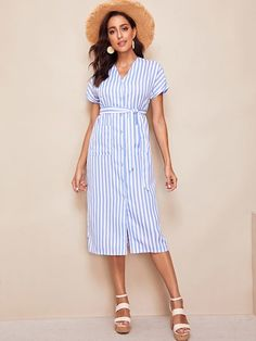 Shein Rolled Up Cuff Pocket Front Striped Dress Dresses For Sale, Nice Dresses, Casual Dresses, Summer Dresses, Modest Dresses, Prom Dresses, Belted Shirt Dress, Striped Dress, Fashion News