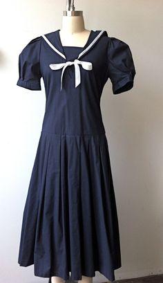 Vintage Laura Ashley Size 6 Drop Waist Sailor Dress