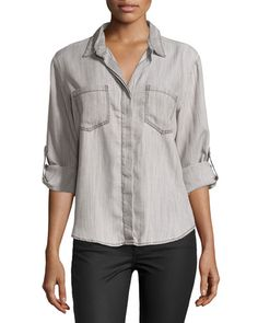 Velvet Heart Riley Tab-Sleeve Button-Front Blouse, Carbon New offer @@@ Price :$98 Price Sale $69